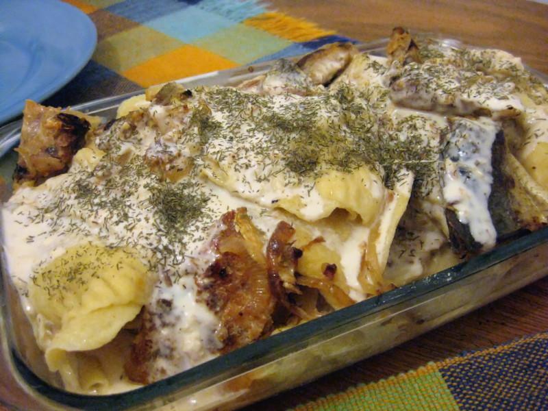 Vareniques de batata doce com molho de peixe
